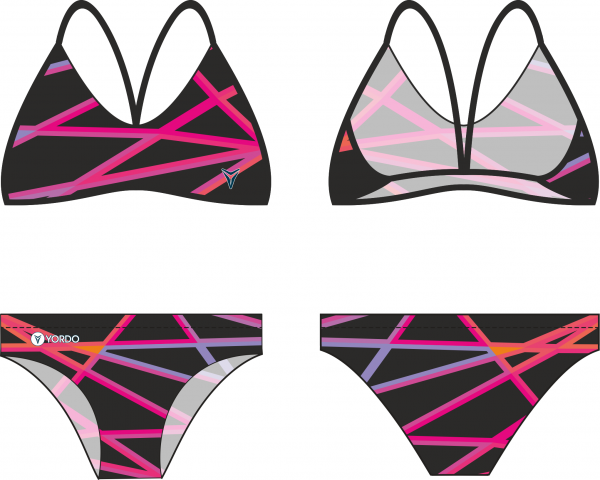 Spagetti bikini Triangles black-magenta